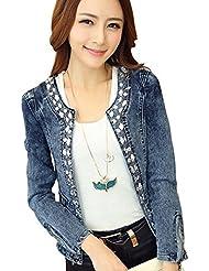 BaoCore Veste Femme Chic Grande Taille Veste en jean femme longue Large Manche Longue Denim élastique avec Diamant Rétro Blouse Sans Col Jacket Vintage Bicolore