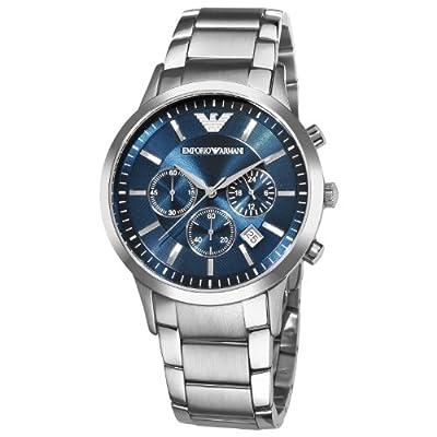 Reloj Emporio Armani AR2448 de cuarzo para hombre con correa de acero inoxidable, color plateado de Emporio Armani