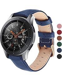 Fullmosa Uhrenarmband 20mm, Cross Serie Echtes Leder Ersatzband für Samsung Watch 20mm/ Huawei,Dunkelblau
