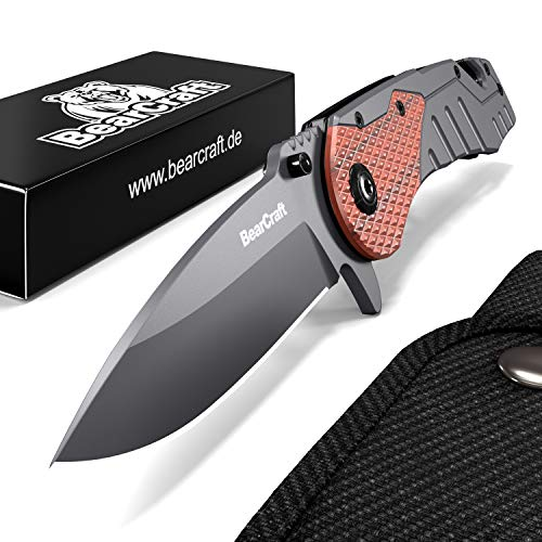 BearCraft Klappmesser | Outdoor Survival Taschenmesser mit Holzeinsatz | Kleines Einhand Messer aus...