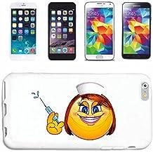 """Cubierta del Teléfono inteligente Samsung Galaxy S4 Mini """" SONRIENTE dama como enfermera con la jeringa """"SMILEY SMILIES ANDROID IPHONE EMOTICONOS IOS sa sonrisa EMOTICON APP"""" Cubierta Cubierta del Caso de la elegante de Shell duro de Protección párr El Teléfono Celular Samsung Galaxy S4 Mini blanco"""