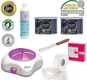 kit depilazione scaldacera rotolo per ceretta 4 cera vari fragranze