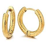 2 Color Oro Acanalados Círculo Pendientes del Aro, Pendientes para Hombre Mujer, Acero Inoxidable