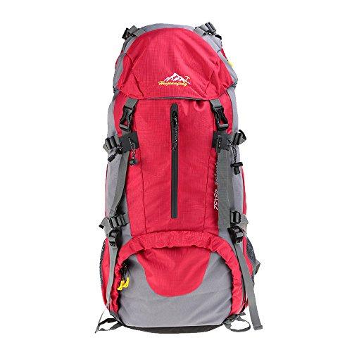 Imagen de lixada   con funda impermeable para deporte, senderismo, trekking, camping, alpinismo y escalada, 45 l + 5 l, rojo