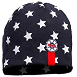 TupTam Jungen Beanie Mütze Baumwolle Sternenmuster Topfmütze, Farbe: Sterne Weiß / Dunkelblau, Größe: 6 - 12 Monate