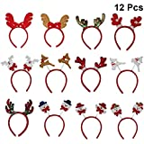 STOBOK Cute Christmas Headbands Hair Bands Holiday Headbands Costume Hair Accessories For Kids Adult Cosplay Christmas Party 12pcs/Set (Random Pattern)