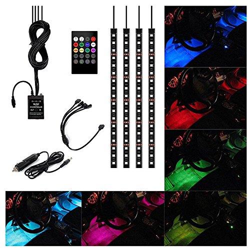 Xcellent Global AT010, Confezione da 4strisce luminose decorative da 30 cm per l'interno dell'auto con 18 LED SMD RGB, regolabili attraverso il suono, dotate di telecomando e caricabatteria per auto