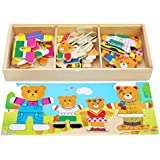 Toys of Wood Oxford Wooden Bear Family Dress-up Puzzle Box