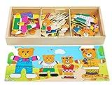 Toys of Wood Oxford Puzzle in Legno - Famiglia di Orsi con Set di Vestiti e Accessori - Selezione e Abbinamento - Gioco di Selezione per Bambini di 3 Anni
