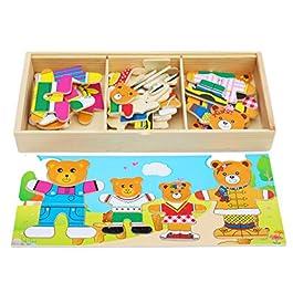 Toys of Wood Oxford Puzzle in Legno – Famiglia di Orsi con Set di Vestiti e Accessori – Selezione e Abbinamento – Gioco di Selezione per Bambini di 3 Anni