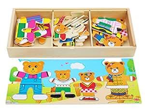 Toys of Wood Oxford bois boîte dress-up de puzzle famille d'ours - fun puzzle -jouet en bois pour 3 ans