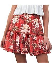 1af82e1e72 LHWY-Falda A-LíNea Falda con Volantes Vintage Mujer Playa con Estampado De  Floral
