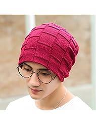 El hombre del sombrero del invierno del espesamiento Mantener caliente de las lanas de lana Cap Hombre al aire libre que hace punto los hombres del casquillo del sombrero Tab Baotou ( Color : Rojo )