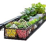 LIANGLIANG Schmiedeeisen Hängender Korb Geländer Fenster Pflanzenregal Blumentreppen Blumenregal Metall Sukkulenten Gestell Balkon Draussen Schwarz, 6 Größen (größe : 60*25*12cm)