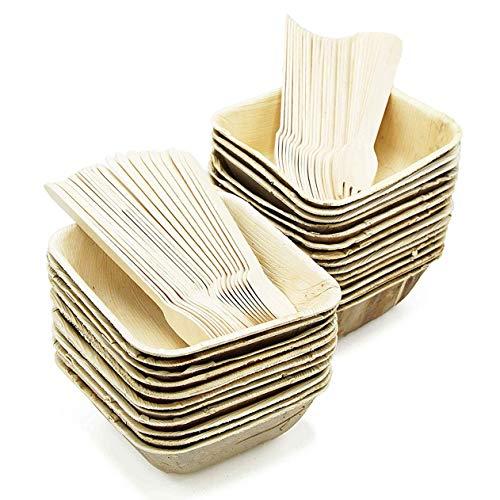 Party Einweg Geschirr Teller tief Set von 75-Palm Leaf-Schale Teller (25), Gabeln Holz (25) & Löffel (25)-kompostierbar 16 oz Square