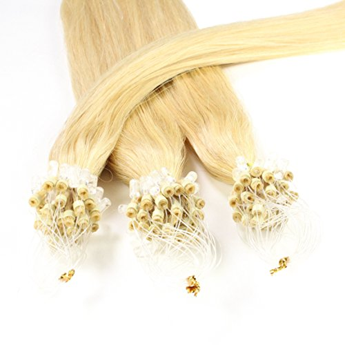Hair2heart 150 x 0.5g microring loop extension capelli veri - 60cm - liscio, colore #22 biondo chiaro