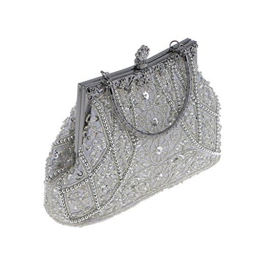 Damen Pailletten Abendtasche Clutch Damenhandtasche Wedding Ladies Party - ore Grau Silber