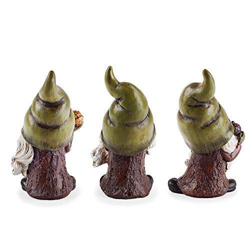 Gartenzwerg oder Waldwichtel Trio mit Grüner Zipfelmütze