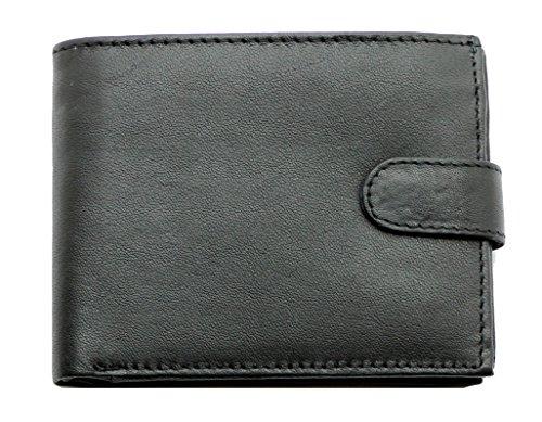 Portafogli da uomo in vera pelle, a portafoglio con porta carte di credito, ID Window & Pocket-sicuro per le monete con cerniera, colore: nero