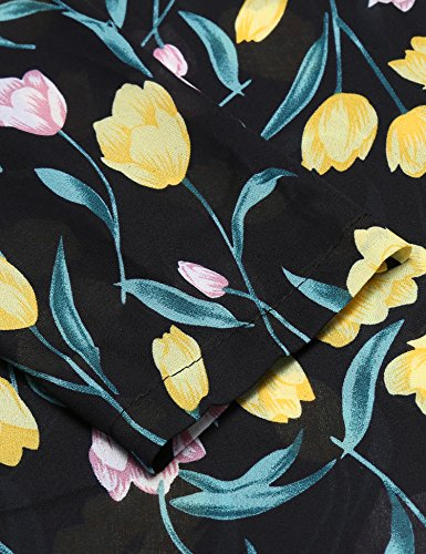 Beyove Damen Chiffonbluse mit Blumen Sommer Bluse Lamgarm Shirt Musterprint Obertail Dunkelblau