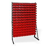 ADB stationäres Kleinteilemagazin mit 126 Lagersichtkästen Gr. 2 rot HxBxT 1650x1114x350 mm