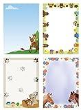 Briefpapiermappe - tierisch-witzig Mix 4x5 Blatt Briefpapier und 4x5 Briefumschläge Mix3+BU