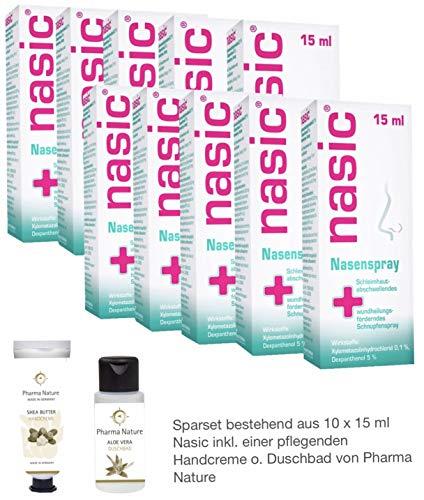 Nasic Nasenspray 15 ml -10er Sparset - inkl. einer hochwertigen Handcreme o. Duschbad von Pharma Nature