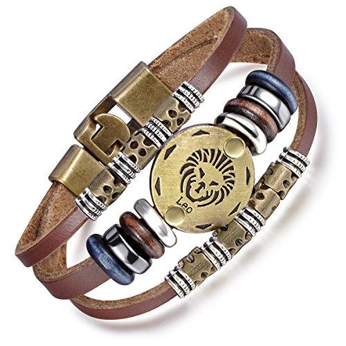 Feilok Elegant Rund Schild 12 Sternbild Löwe Unisex Verstellbar Armbänder Armband Legierung Leder Beads Seil Armkette Armreif, Farbe: Braun