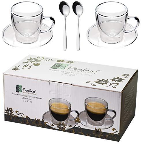 Feelino 2X 80ml doppelwandige Espresso-Tassen + 2X Edelstahl-LÖFFEL Espressolöffel, mit Henkel und Untersetzer, modern und Zeitloses Design in toller Verpackung, by