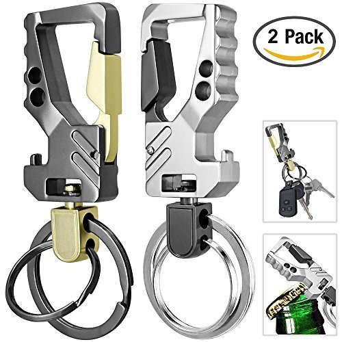 KEKU 2 Pack Auto Schlüsselanhänger Flaschenöffner Schlüsselbund Schlüsselring Öffner für Männer und Frauen