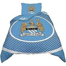 Manchester City FC - Juego de fundas para nórdicos reversible Modelo Bullseye (cama 90 o matrimonio) - Fútbol (Cama 90/Azul cielo)