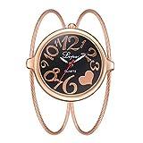 Relojes Pulsera Esfera Grande Escala del Numeral Árabe Relojes Mujer Pulsera de Cadena de Acero Inoxidable Interesante Moda, Oro Rosa-Negro