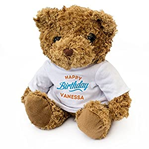 London Teddy Bears Oso de Peluche con Texto en inglés Happy Birthday Vanessa