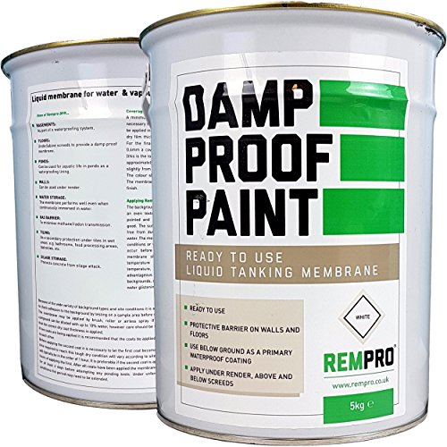 5kg Rempro Damp Proof Paint White - Liquid DPM Waterproofing Damp Proof Membrane Paint (Total: 5kg White)