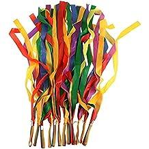 Hosaire 12pcs / lot del arco iris de la cinta de gimnasia rítmica Dance Band cinta de nylon manejar los juguetes para los niños colores surtidos