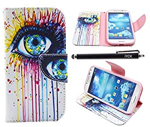 S4 Case, Galaxy S4 Case, iYCK Premium PU Leather Flip Folio Carrying Magnetic Closure Protective Shell Wallet Case Cover for Samsung Galaxy S4 with Kickstand Stand - Colorful Eye