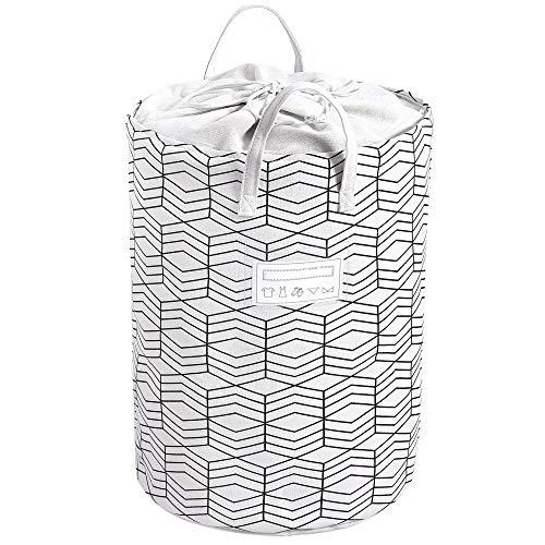 Grande Plegable Cesto de la ropa Cordón Impermeable Cesto de lavandería Redondo algodón de lino Inicio Organizador, 40 x 60 cm (Rejillas en blanco y negro)