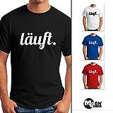 MoonWorks Cooles Lustiges Herren T-Shirt - Läuft - Fun-Shirt Navy 4XL