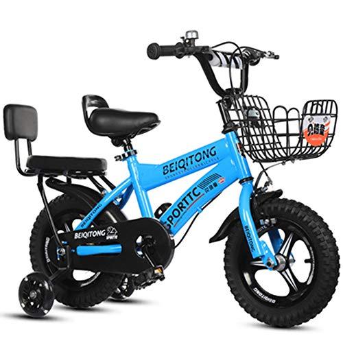 YUMEIGE Kinderfahrräder Mädchenfahrrad mit Stützrädern für 12 14 16 18 Zoll Fahrrad Geeignet für 2-9 Jahre Kinderfahrradgürtel Autoglocke Blau, Rosa, Weiß, Gelb (Color : Blue, Size : 18in)