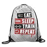 dfhdshsd Eat Sleep Train Repeat Sport Backpack Drawstring Print Bag