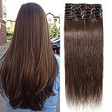 TESS Clip in Echthaar Extensions Schokobraun #4 Remy Haar Extensions guenstig Haarverlängerung 18 Clips 8 Tressen Lang Glatt, 14