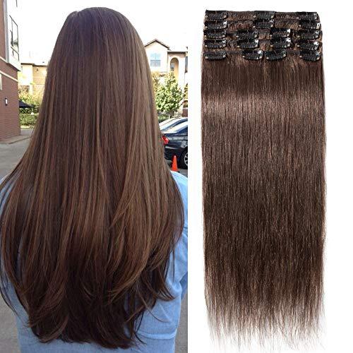 TESS Extensions Echthaar Clip in Schokobraun #4 Remy Haar Extensions guenstig Haarverlängerung 18 Clips 8 Tressen Lang Glatt, 20