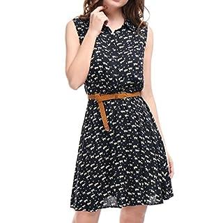 Allegra K Damen Ärmellos Button Muster Shirtkleid Kleid mit Gürtel Dunkelblau-Katze XL (EU 48)