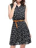 Allegra K Women's Cat Prints Sleeveless Unlined Shirt Dresses w Belt Dark Blue L