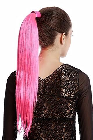 WIG ME UP ® - Srosy-C8 Extension natte queue de cheval nouveau système peigne et serre-tête élastique rose néon lisse 55 cm