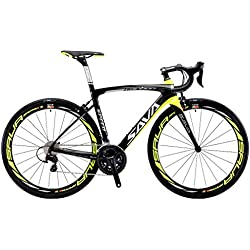 SAVADECK HERD 6.0 700C Bicicleta de Carretera de Fibra de Carbono SHIMANO 5800 22-Velocidad Sistema de Transmisión/Frenado SHIMANO Sistema de Transmisión de Control HUTCHINSON 25C Neumáticos Fi'zi: k Cojín (Negro & Amarillo, 480)