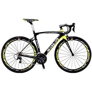 SAVADECK HERD 6.0 700C Vélos de Route T800 Fibre de Carbone Cadre 22 Vitesses SHIMANO 105 5800 HUTCHINSON 25C Pneu et Fizik selle ultraléger 18.3 lbs (noir&Jaune, 500)