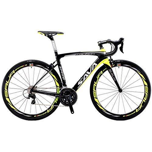 SAVADECK HERD 6.0 700C Bicicleta de Carretera de Fibra de Carbono SHIMANO 5800 22-Velocidad Sistema de Transmisión/Frenado SHIMANO Sistema de Transmisión de Control HUTCHINSON 25C Neumáticos Fi'zi: k Cojín (Negro & Amarillo, 520)