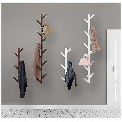 WEII Kleiderständer aus Massivholz zum Aufhängen an der Wand für Wohnzimmer, Schlafzimmer, Dekoration, weiß, 78 * 22 * 7cm