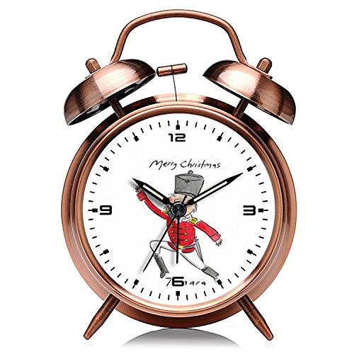 girlsight Weihnachtskupfer Retro Clock Silent mit Nachtlicht Double Bell Wecker 845.Tamara Weihnachtsnussknacker Wecker